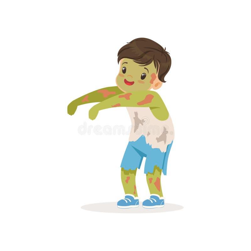 Мальчик одетый как зомби, милый ребенк в иллюстрации вектора костюма хеллоуина иллюстрация вектора