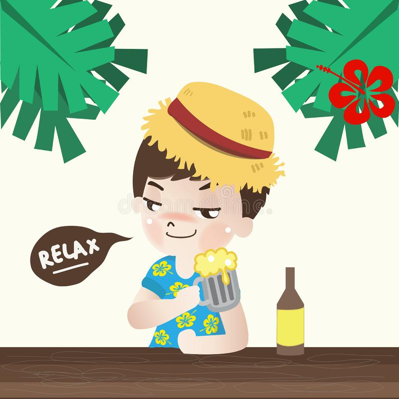 Мальчик ослабить с пивом в празднике иллюстрация штока