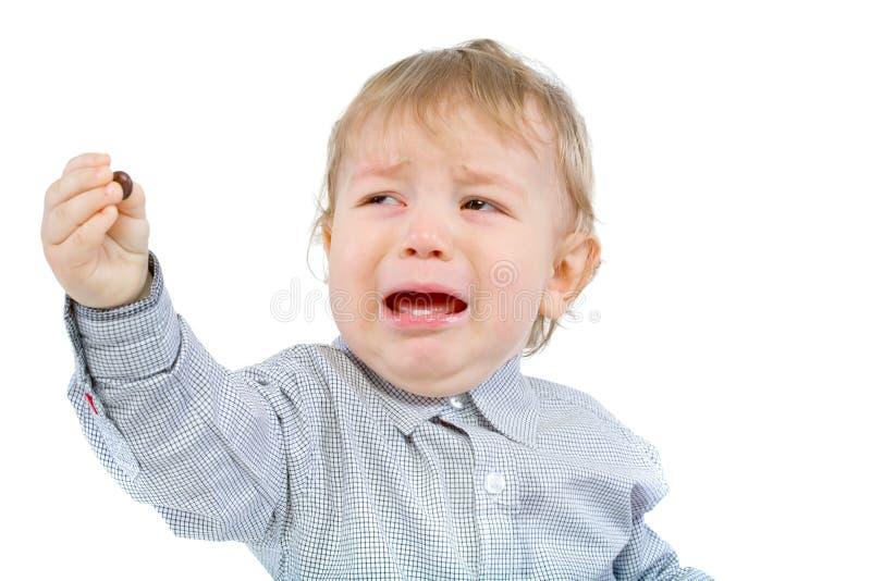 мальчик плача немного стоковое изображение