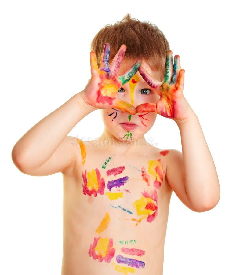 мальчик покрасил стоковое фото rf