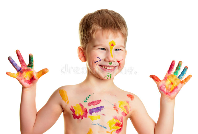 мальчик покрасил стоковые фотографии rf