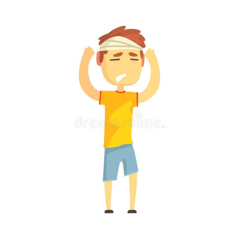 Мальчик при перевязанная голова страдая от тягостной иллюстрации вектора персонажа из мультфильма головной боли иллюстрация вектора