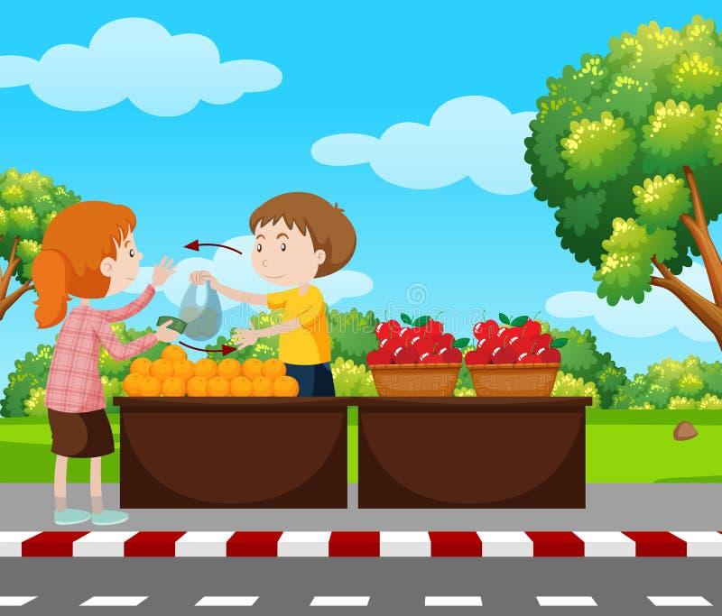 Мальчик продавая плодоовощи на мостоваой иллюстрация вектора