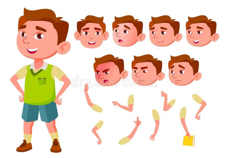 Мальчик, ребенок, ребенк, предназначенный для подростков вектор немного смешно младше содружественно Эмоции стороны, различные же иллюстрация штока