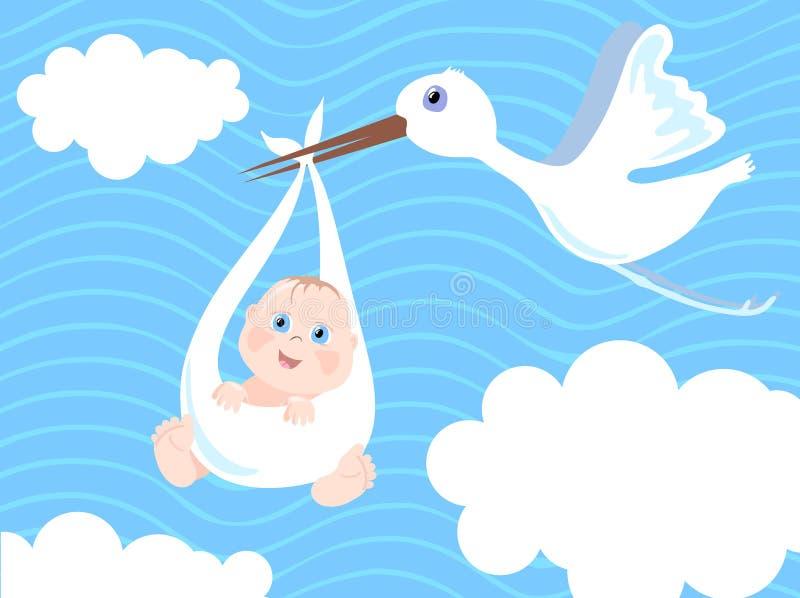 мальчик рождения младенца объявления иллюстрация штока