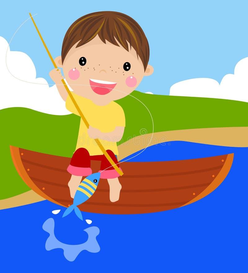 Мальчик рыболовства иллюстрация штока