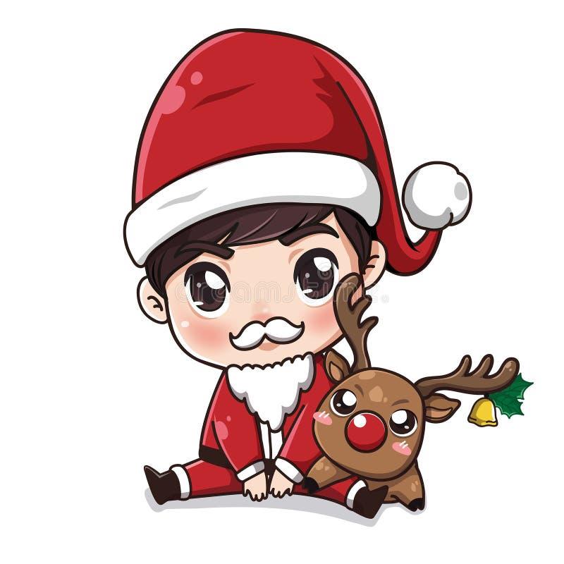 Мальчик Санта Клауса и маленькие олени иллюстрация вектора