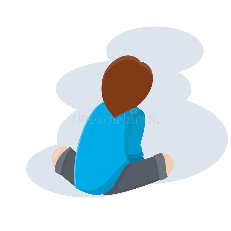 Мальчик сидит назад на поле иллюстрация вектора