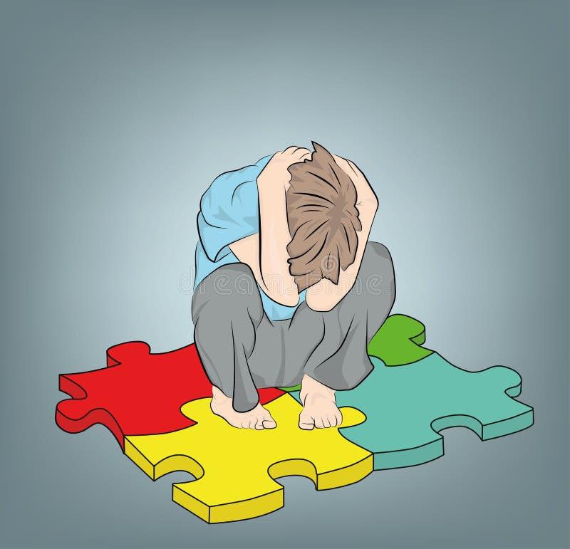 Мальчик сидит на символе головоломок аутизма также вектор иллюстрации притяжки corel бесплатная иллюстрация
