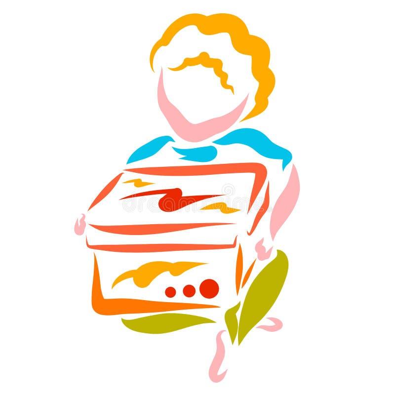 Мальчик сидит с большой коробкой в его руках, подарке или приобретении иллюстрация штока