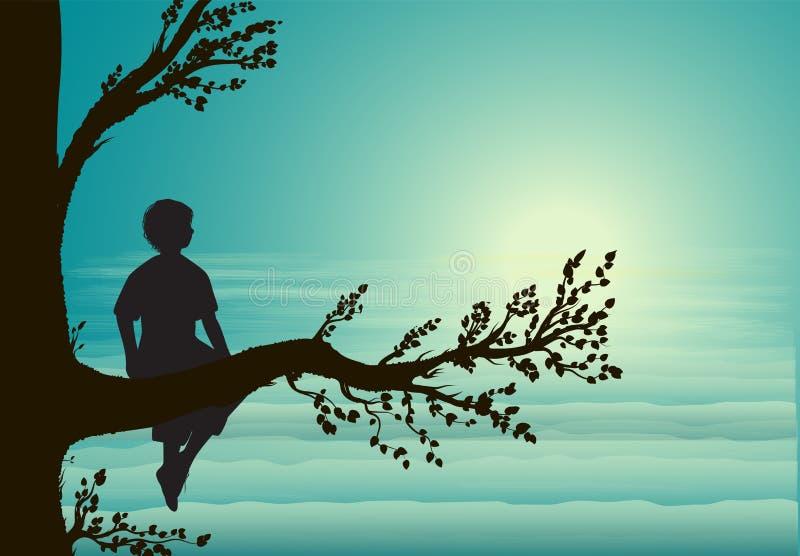 Мальчик сидя на большой ветви дерева, силуэте, секретном месте, памяти детства, мечта, иллюстрация штока