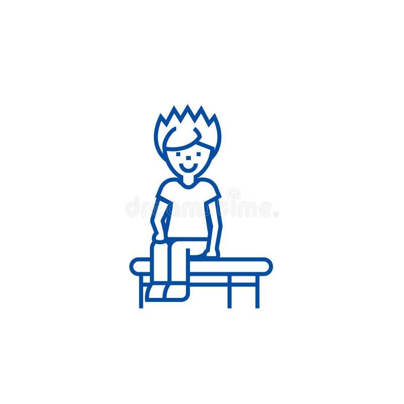 Мальчик сидя на линии концепции стенда значка Мальчик сидя на символе вектора стенда плоском, знак, иллюстрация плана бесплатная иллюстрация