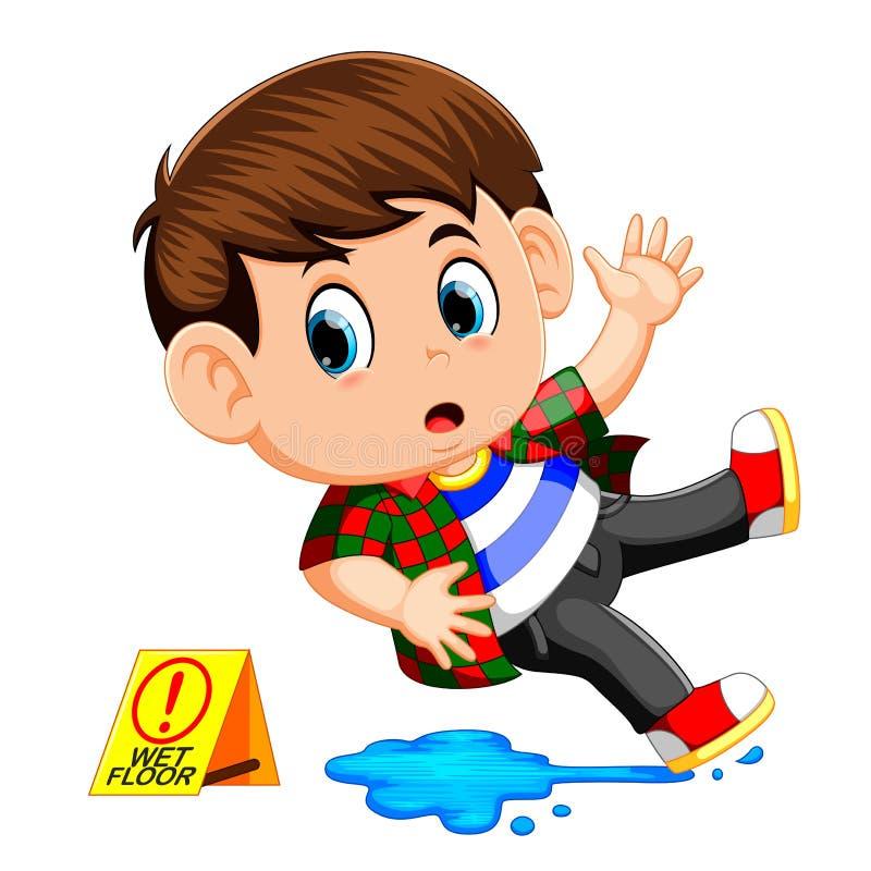 Мальчик смещая на влажный пол иллюстрация штока