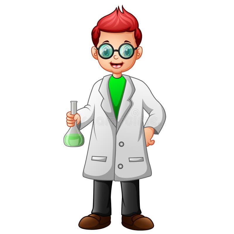 Мальчик со стеклами в белом пальто и удержании лаборатории растворителя склянки иллюстрация вектора