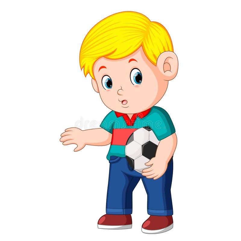 Мальчик стоя и держа шарик иллюстрация штока