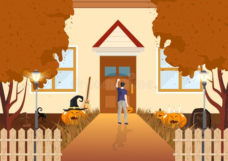 Мальчик стучая на концепции, фокусе или обслуживании, тыкве, коте и погосте осени дизайна дверей плоских в предпосылке конспекта  иллюстрация вектора