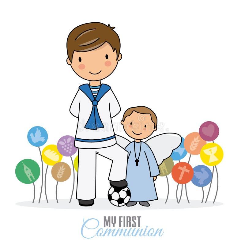 Мальчик с ангелом иллюстрация штока
