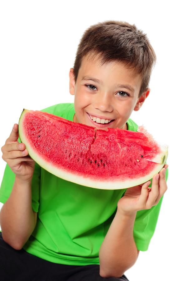 Мальчик с арбузом стоковое изображение rf