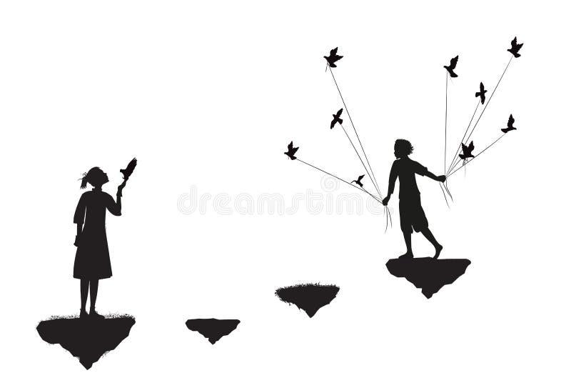Мальчик с голубями приходит к положению девушки на утесе летания, черно-белом, дате в Dreamland, иллюстрация штока