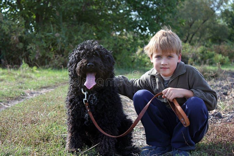 Мальчик с его собакой стоковое изображение