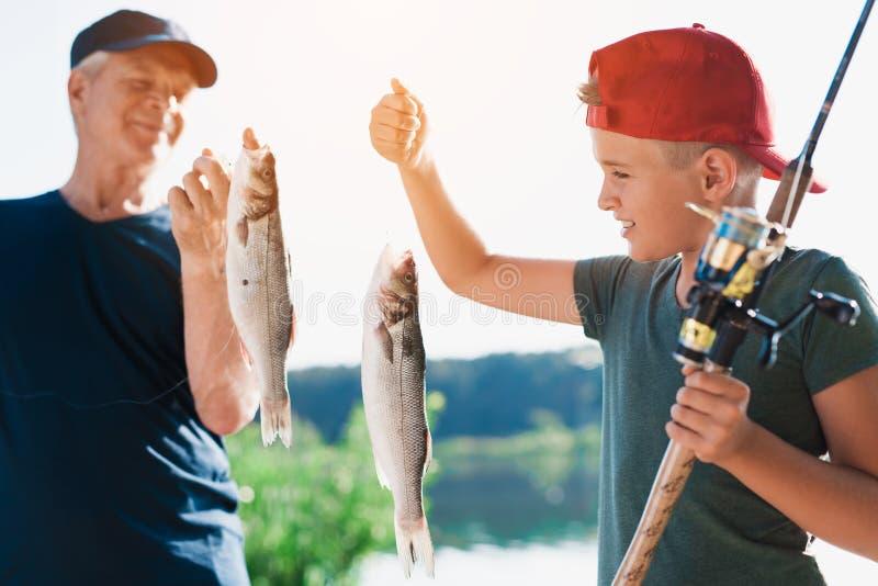 Мальчик с закручивать в его руки показывает старику каких рыб он уловил Старик держит таких же рыб в его руках стоковая фотография rf