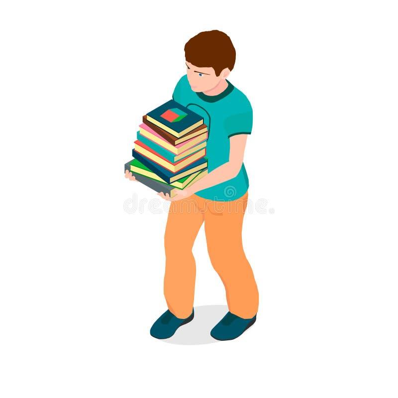 Мальчик с книгами в его руках иллюстрация штока