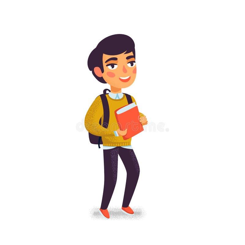 Мальчик с книгой и рюкзаком на белой предпосылке счастливый студент Зрачок начальной школы жизнерадостные детеныши человека Назад иллюстрация вектора