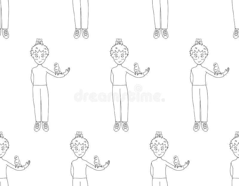 Мальчик с красочными попугаем и хомяком на белой предпосылке также вектор иллюстрации притяжки corel иллюстрация штока