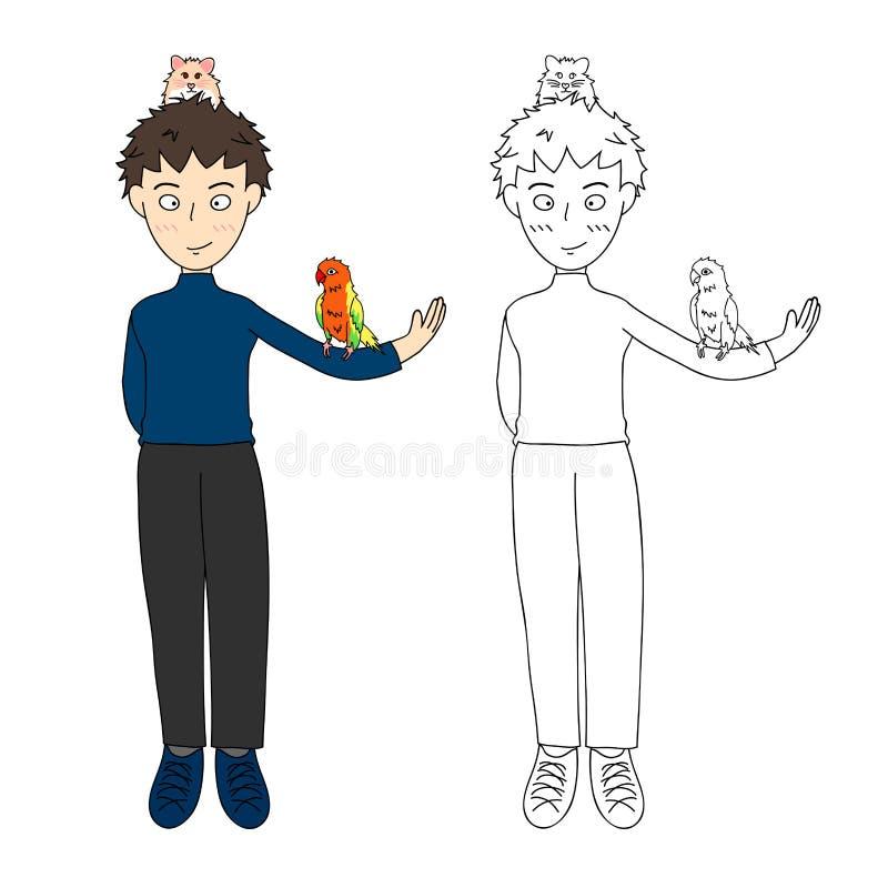 Мальчик с красочными попугаем и хомяком также вектор иллюстрации притяжки corel белизна изолированная предпосылкой бесплатная иллюстрация