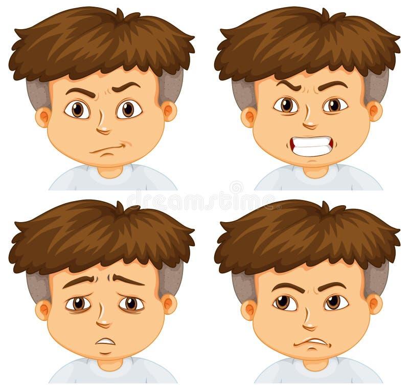 Мальчик с различными эмоциями иллюстрация вектора