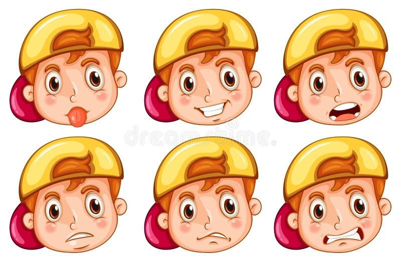 Мальчик с различными эмоциями бесплатная иллюстрация