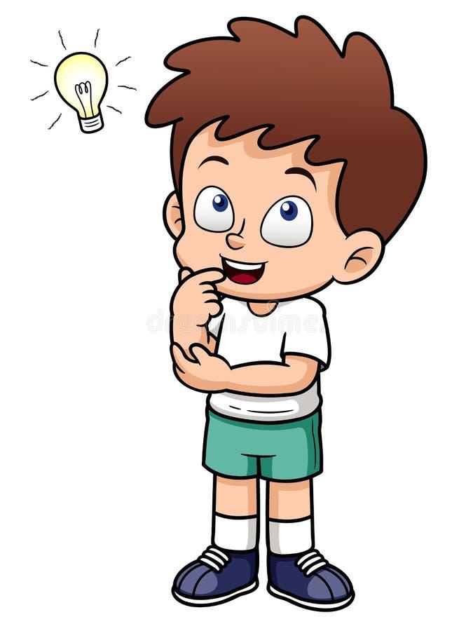 Мальчик с хорошей идеей иллюстрация штока