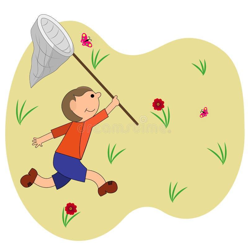 Мальчик улавливает бабочек вода вектора свежей иллюстрации конструкции естественная ваша иллюстрация штока