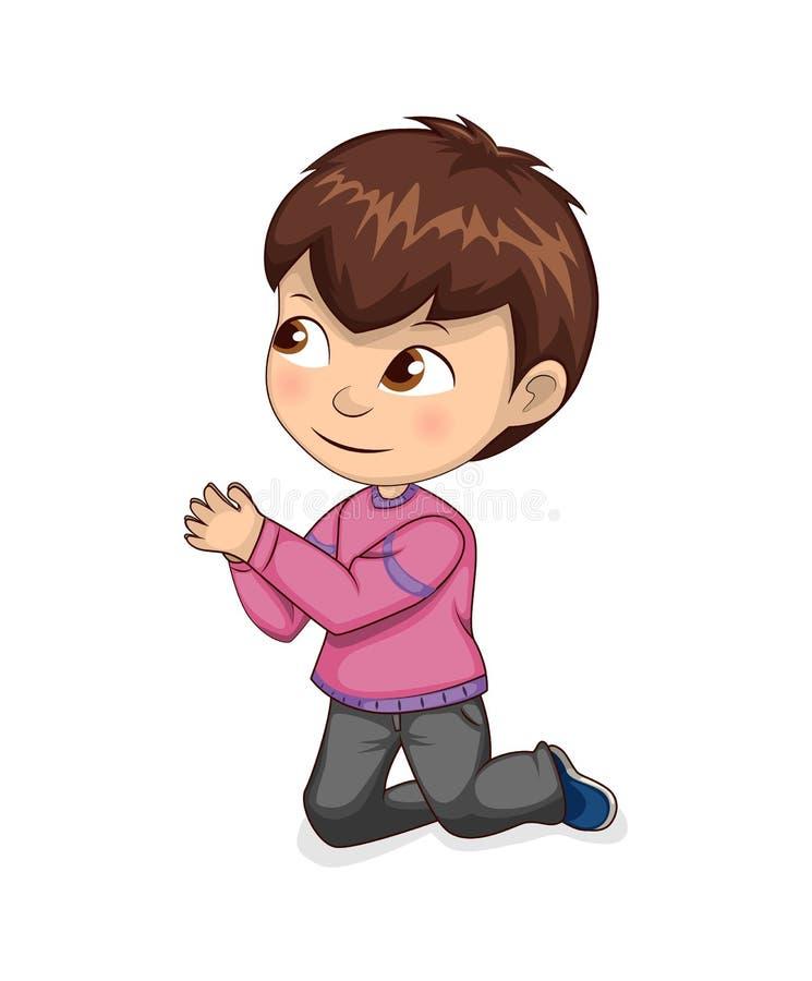 Мальчик умоляет для прощения или разрешения на коленях бесплатная иллюстрация