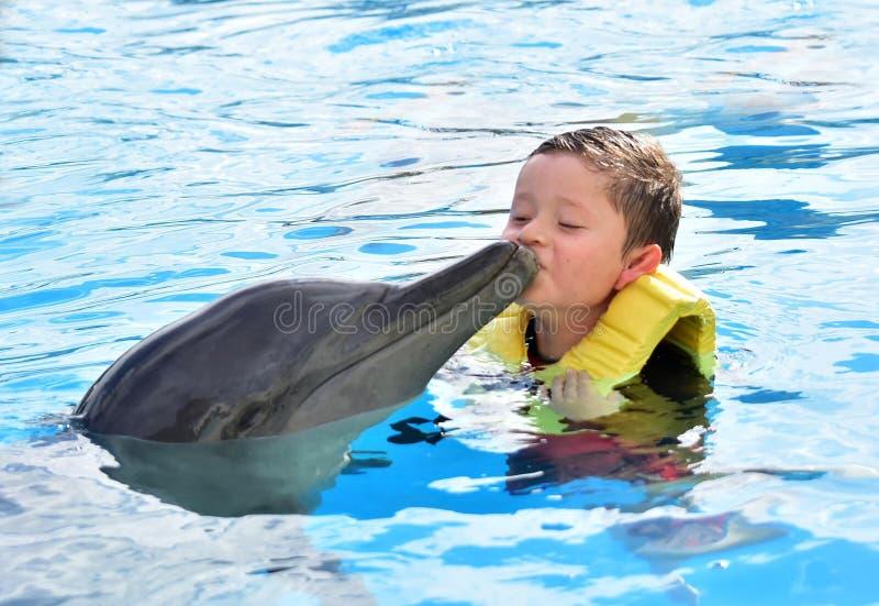 Мальчик целуя дельфина в бассейне стоковая фотография