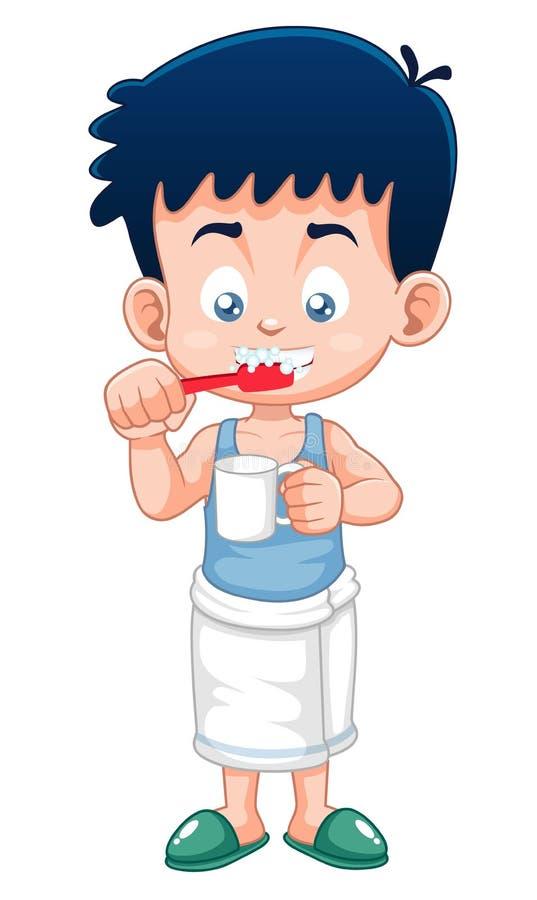 Мальчик чистя его зубы щеткой иллюстрация штока