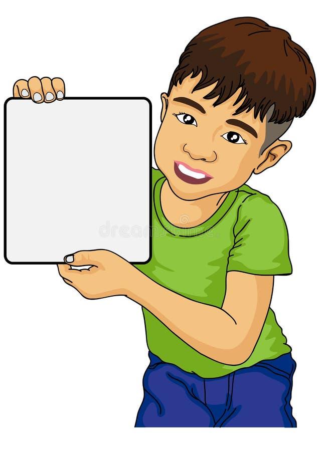 Мальчик шаржа держа чистый лист бумаги стоковое фото