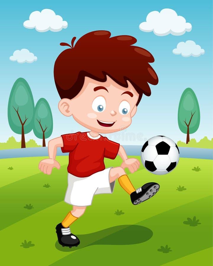 Мальчик шаржа играя футбол Стоковые Фото