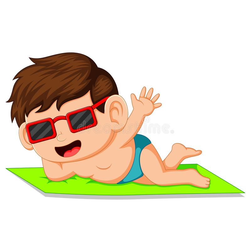 Мальчик шаржа лежа на циновке иллюстрация штока