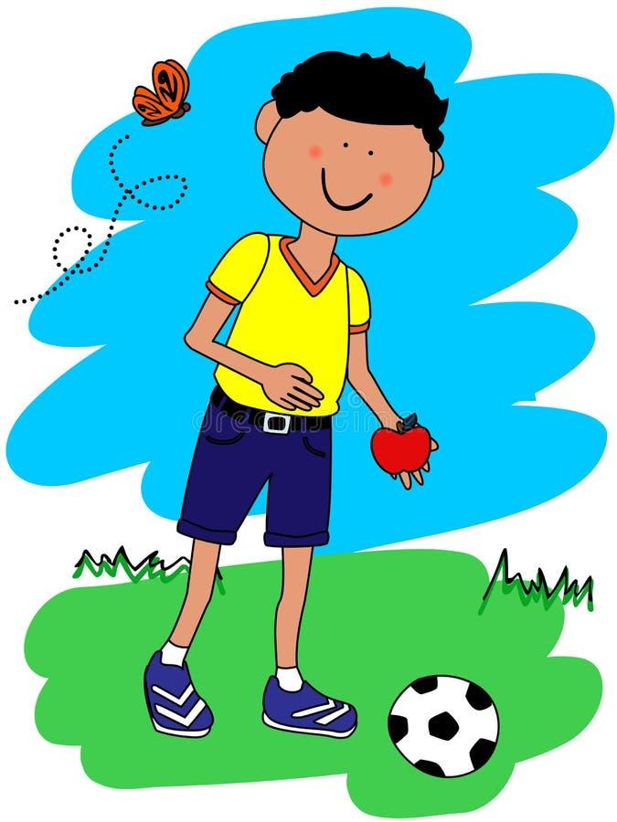 мальчик шарика яблока немногая иллюстрация вектора