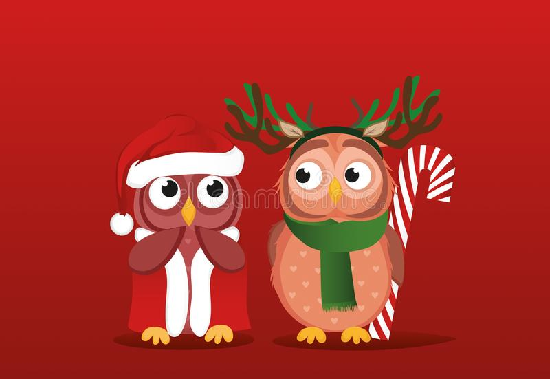 Мальчик Owlet в костюме оленей хочет дать подарок конфеты рождества к бесплатная иллюстрация