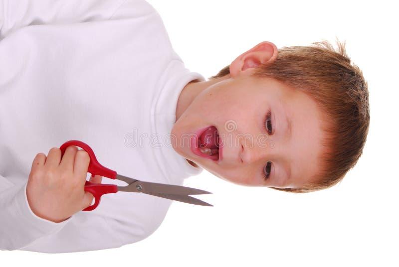 мальчик scissors 2 стоковые фото