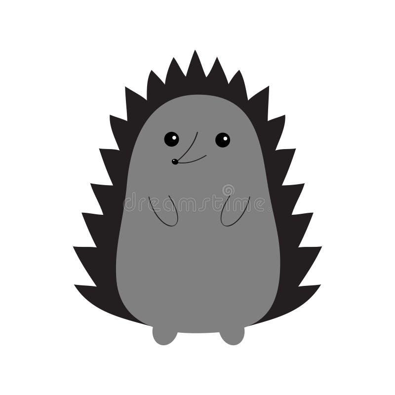Мальчишка ежа Силуэт контура Милое животное kawaii шаржа Смешная сторона с глазами, позвоночниками, носом Полюбите поздравительну иллюстрация штока
