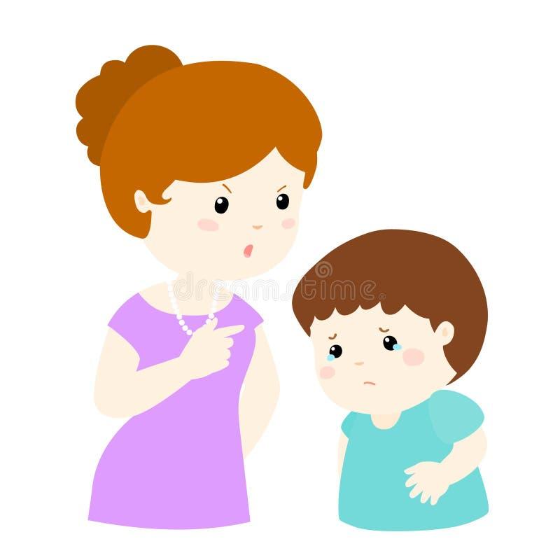 Мама бранит ее сына на белой иллюстрации предпосылки бесплатная иллюстрация