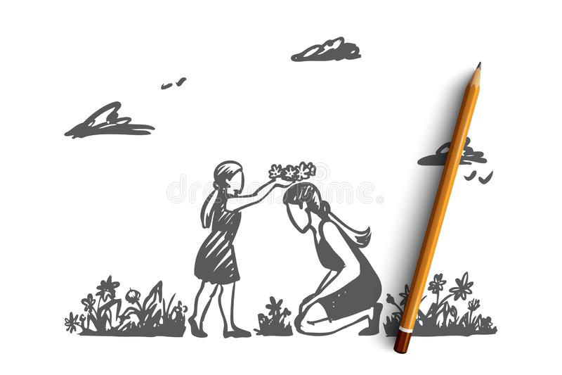 Мама, дочь, сад, счастье, концепция семьи Вектор нарисованный рукой изолированный иллюстрация штока