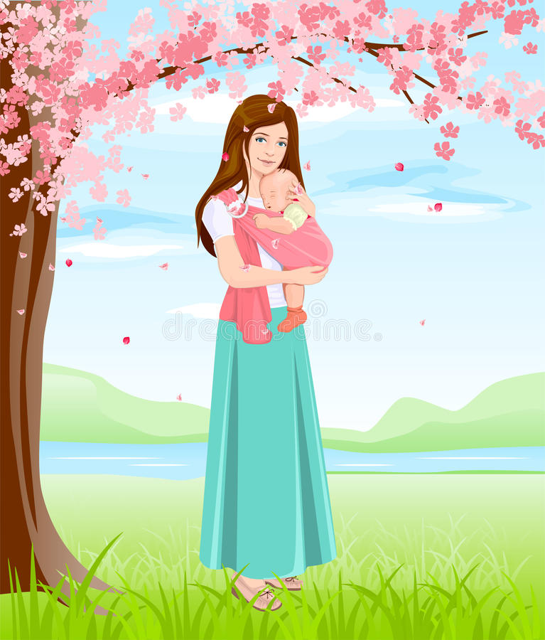 Мама держа младенца в слинге Молодая мать под blossoming деревом бесплатная иллюстрация