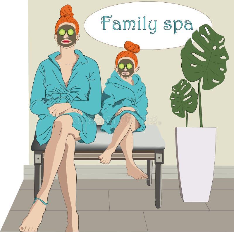 Мама и дочь в салоне красоты бесплатная иллюстрация