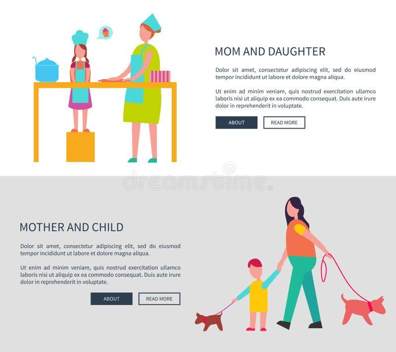 Мама и дочь, мать с комплектом сети вектора ребенка иллюстрация штока