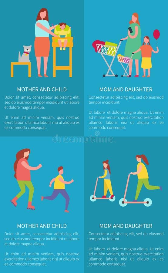 Мама и дочь, мать с плакатами вектора ребенка иллюстрация вектора