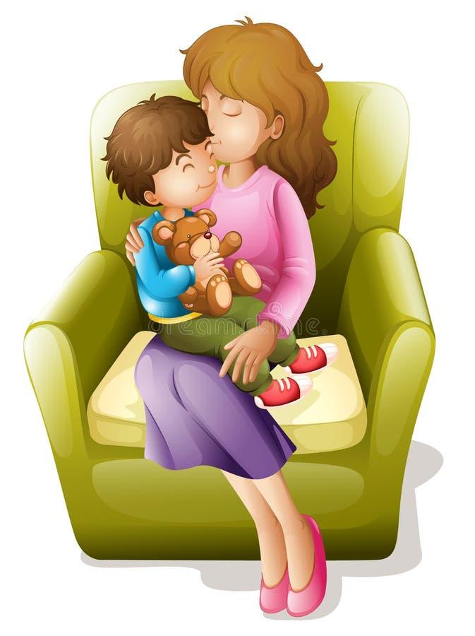 Мама и малыш иллюстрация штока